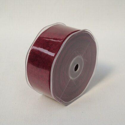 Organza Ribbon Plain Woven Edge 38mmx50m Dubonnet