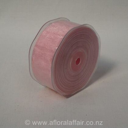 Organza Ribbon Plain Woven Edge 38mmx50m Light Pink