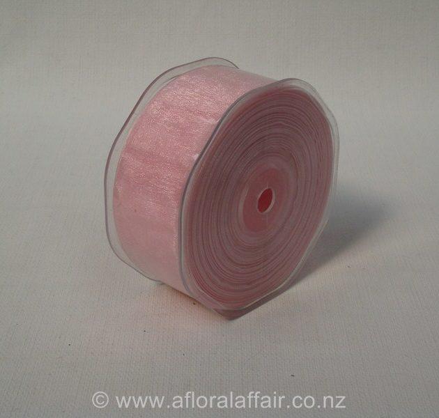 Organza Ribbon Plain Woven Edge 38mmx50m Light Pink