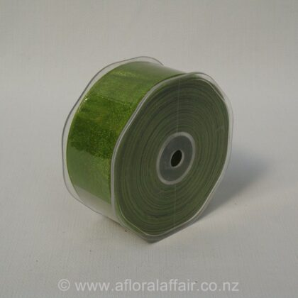 Organza Ribbon Plain Woven Edge 38mmx50m Avocado