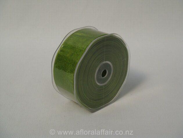 Organza Ribbon Plain Woven Edge 38mmx50m Avocado