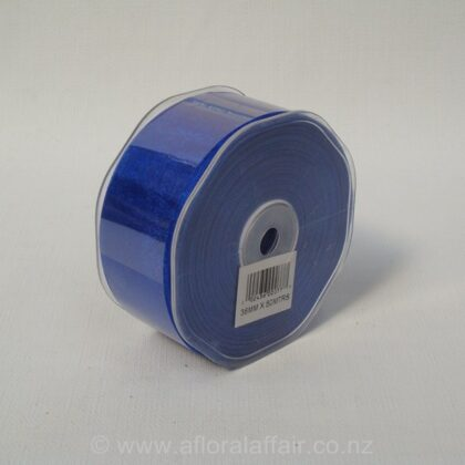 Organza Ribbon Plain Woven Edge 38mmx50m Royal Blue