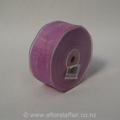 Organza Ribbon Plain Woven Edge 38mmx50m Lilac