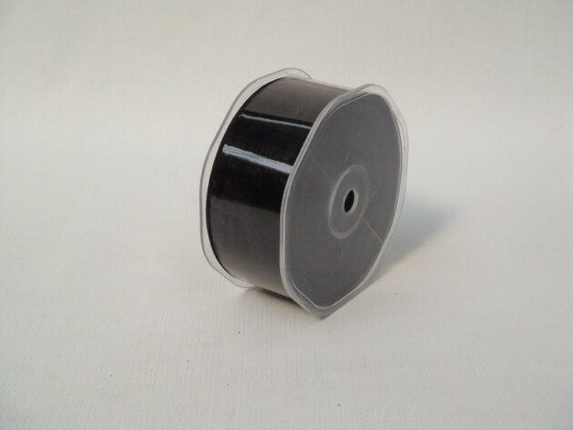 Organza Ribbon Plain Woven Edge 38mmx50m Black