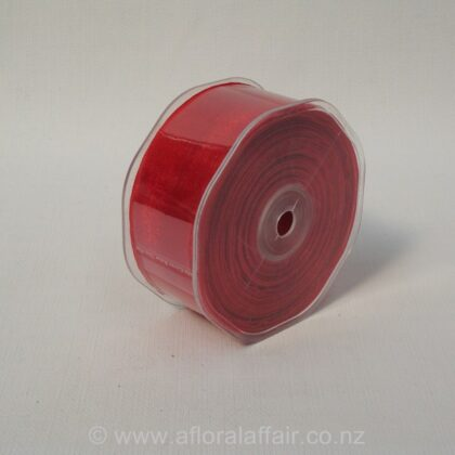 Organza Ribbon Plain Woven Edge 38mmx50m Red