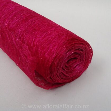 Abaca Fibre Roll with Glitter L5m x W60cm Hot Pink