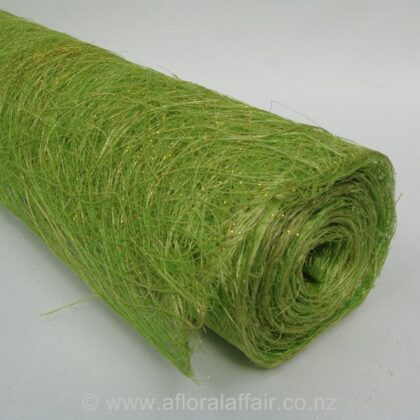 Abaca Scrunch Mat Roll 62cm x 5m Lime Green and Gold