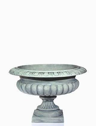 Urn Silver Pewter Large round Squat