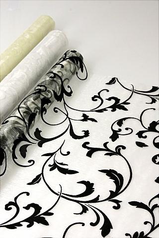 Damask Organza Floral Wrap 53cm x 10yrd  Black