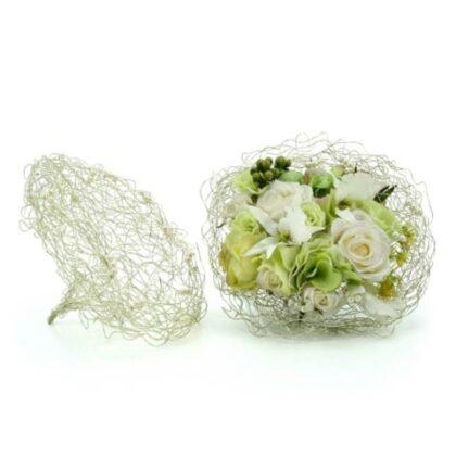 Wire & Bead Collar 25cm Dia Silver